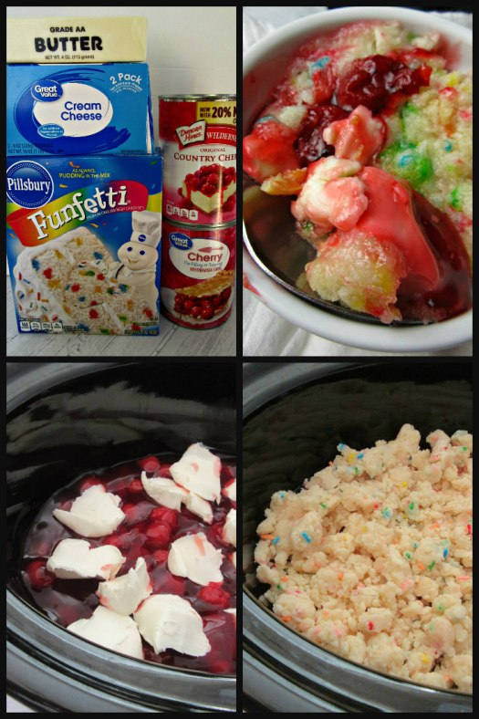 Cherry Cheesecake Dump Cake Process Shot