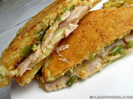 Parmesan-Crusted Sourdough Turkey Sandwich Close Up