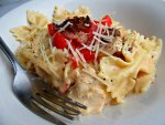 Carino's Chicken Bowtie Festival Copycat Pasta in Bowl with Fork