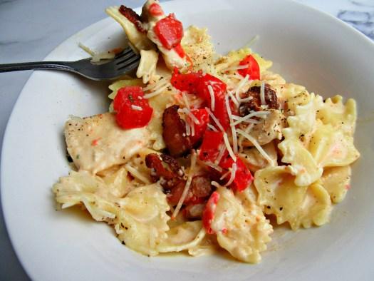 Carino's Chicken Bowtie Festival Copycat Pasta in White Bowl