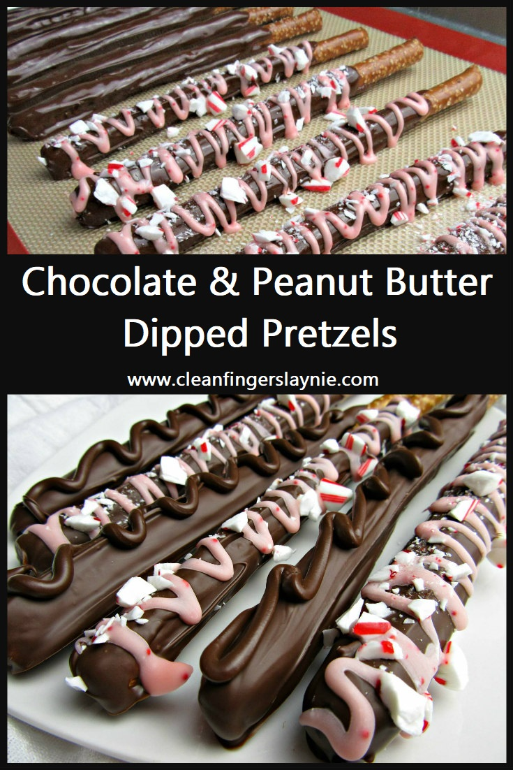 Chocolate and Peanut Butter Dipped Pretzels - Clean Fingers Laynie