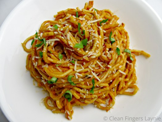 Spicy Tomato Cream Pasta on White Plate