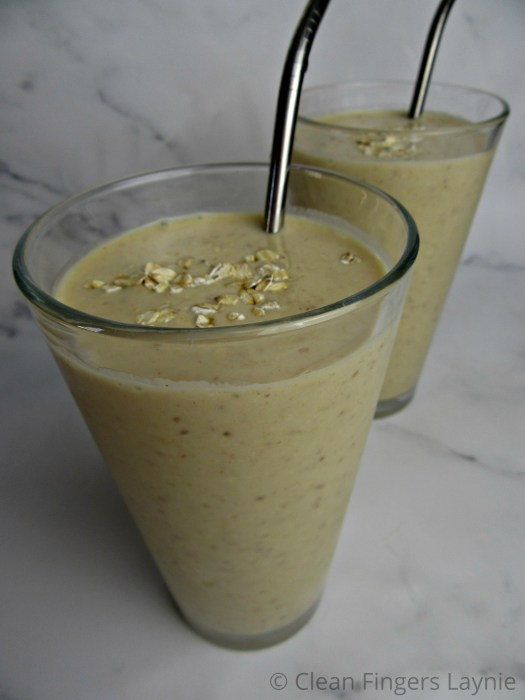 Peanut Butter Banana Oat Smoothie in Two Glasses