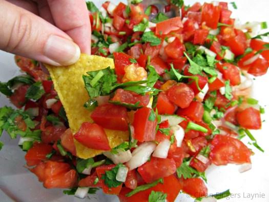 Fresh and Quick Pico De Gallo on Tortilla Chip