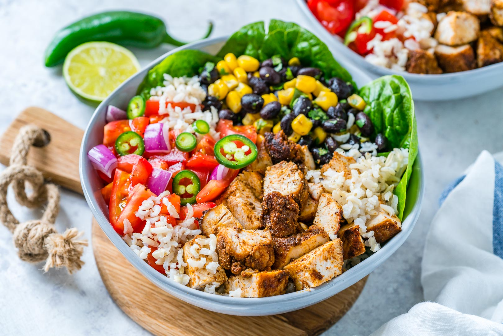 BBQ Chicken Burrito Bowls For Clean Eating Meal Prep