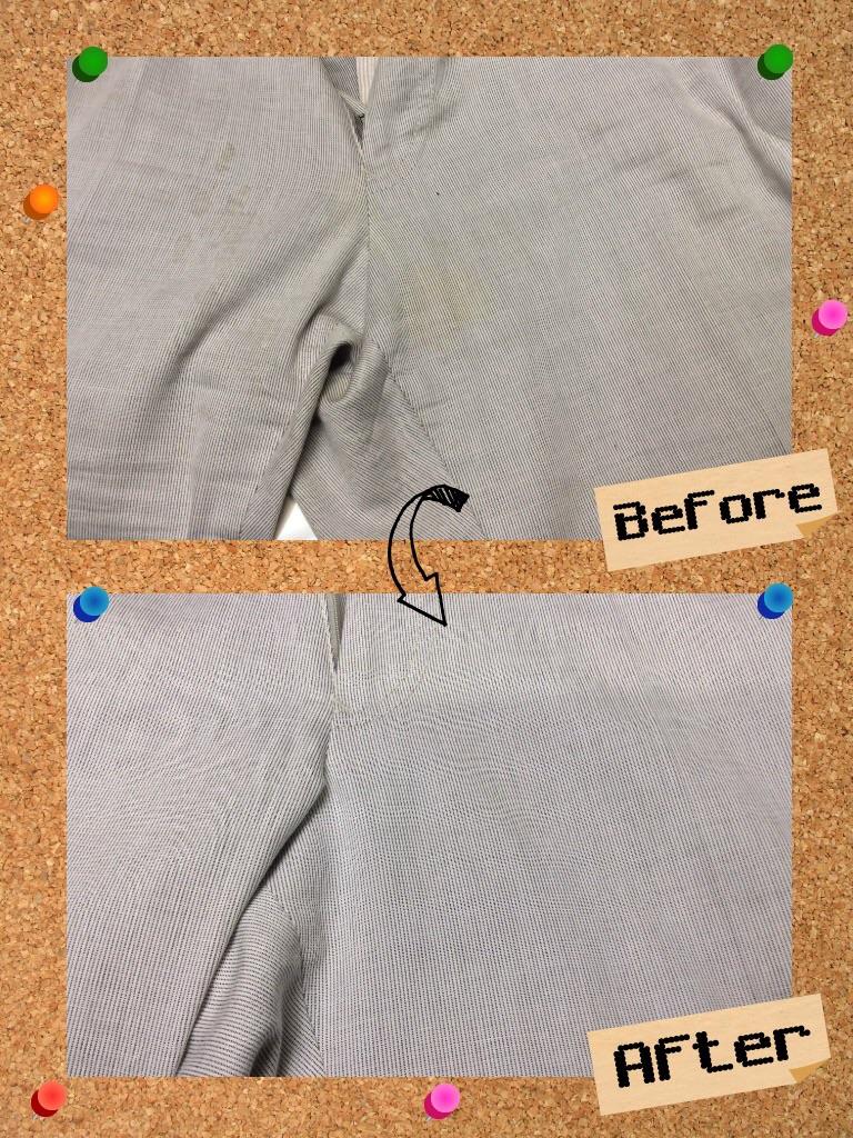 メンズ パンツ ズボン の 股下 の 黄ばみ by 下町、東京都江東区亀戸の会員制クリーニングベレーナ