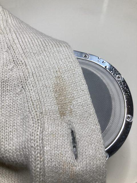 レディース カーディガン 古い 食べこぼし のしみ by 下町、東京都江東区亀戸の会員制クリーニングベレーナ
