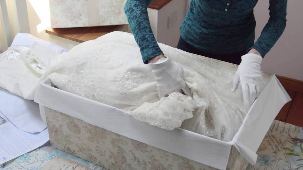 Boxing a wedding dress