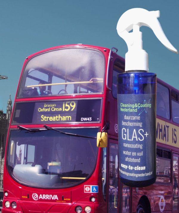 nanocoating glas+ met voorruit van een engelse stadsbus