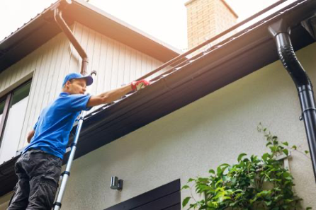 A professional cleaner cleaning the gutter of a home.