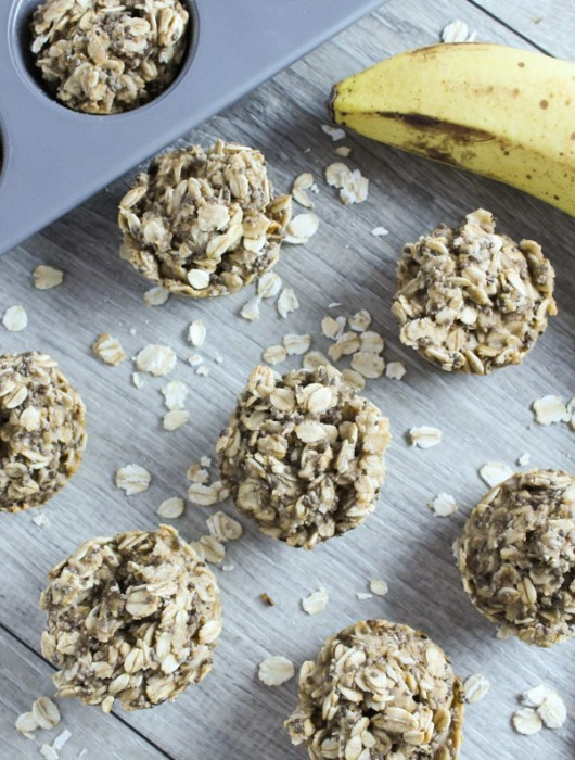 Overhead view of mini oat banana muffins with muffin pan