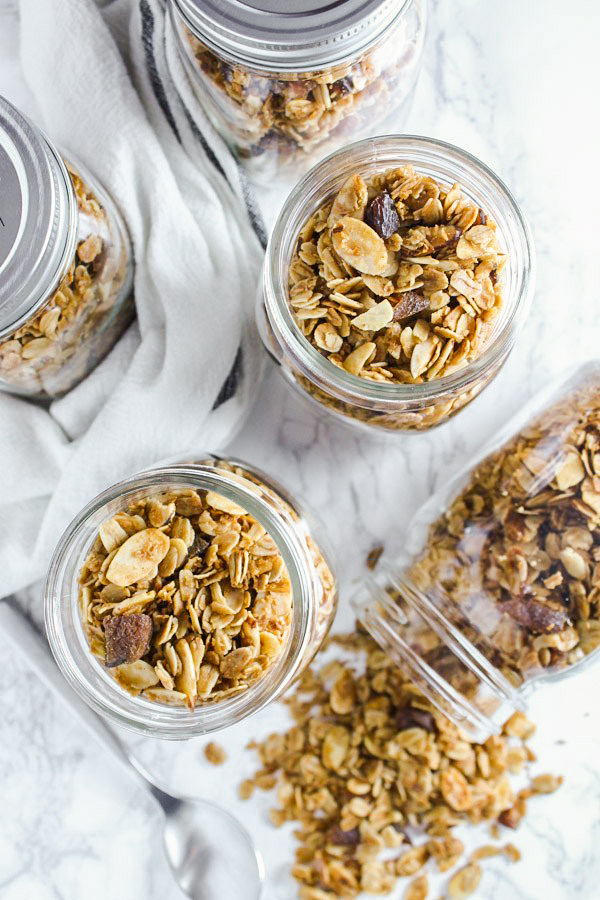 overhead view of honey granola in mason jars
