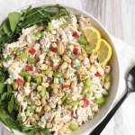 overhead view of cashew chicken salad in serving bowl