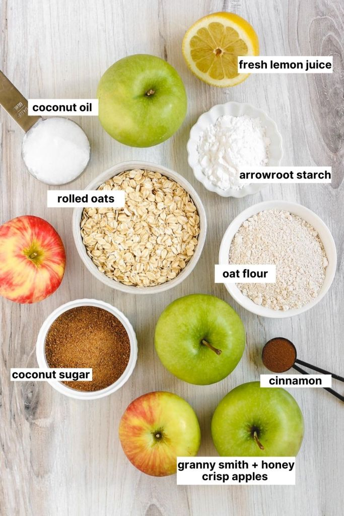 all ingredients labeled that are used for this gluten free apple crisp recipe.