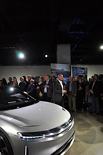 The Lucid Motors Air unveiling at the Los Angeles Petersen Museum.