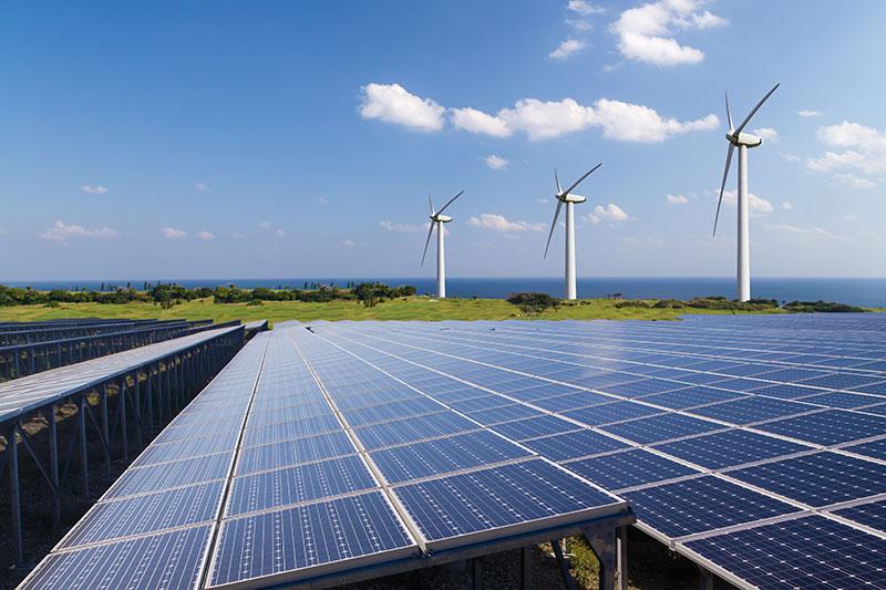 Imagine of wind turbines and solar panels courtesy Washington State Department of Commerce
