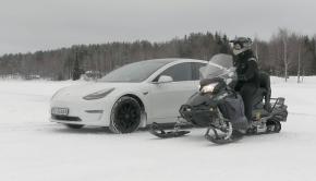 Tesla Model 3 vs. Electric Snowmobile Drag Race
