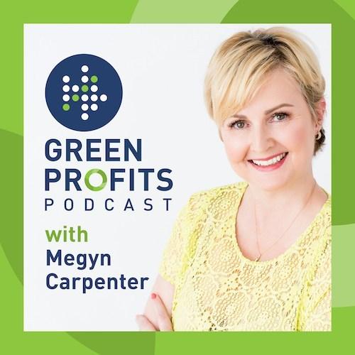 Green Profits Podcast logo with Megyn Carpenter