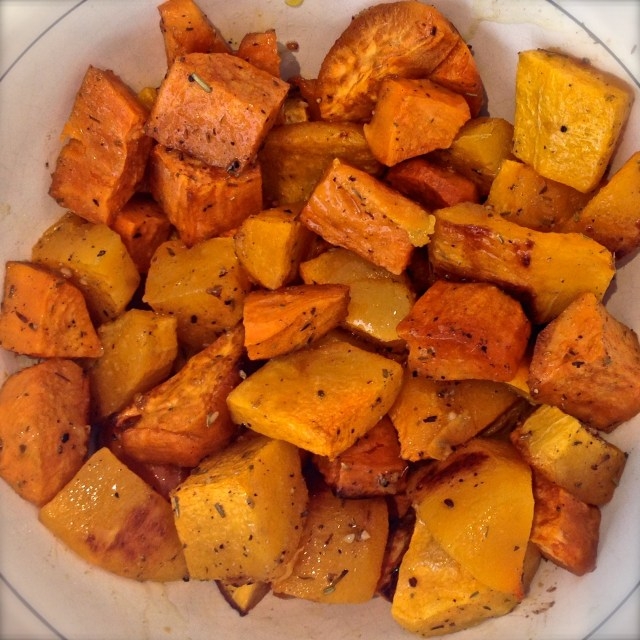 Paleo Candy: Delicious baked sweet potato and butternut squash. The perfect side dish or dessert.