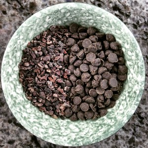 Antioxidant and fibre-rich cocoa nibs and dark chocolate chips. Balance in baking.