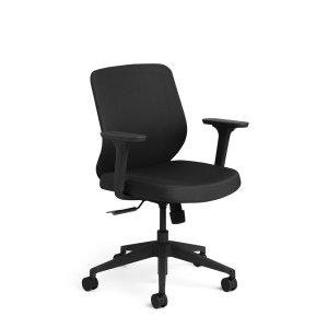 Poppin Max Task Chair Mid Back, Black Frame, Black