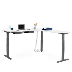 Poppin Series L Adjustable Height Corner Desk