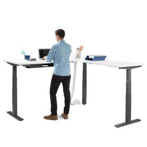 Poppin Series L Adjustable Height Corner Desk