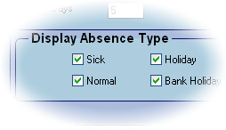 Focus calendar absence type closeup