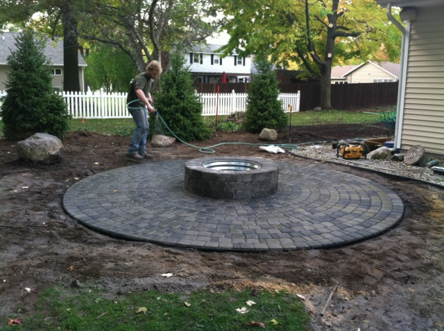 Paver Patio with Firepit - ClearBrook Landscaping and Lawncare on Paver Patio Designs With Fire Pit id=44117