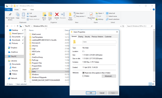 Windows 10 Users Disk Space Used