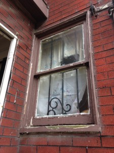 Wooden window with lead paint. This is a common sight at Detroit properties