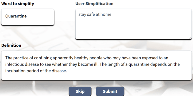 Simplification Form. Term = Quarantine. Sample simplified text = stay safe at home. Submit and Skip buttons.