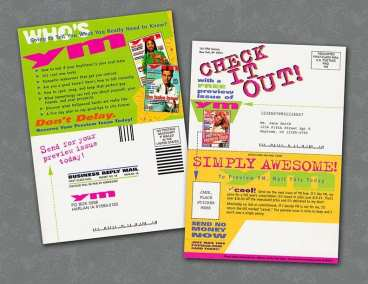 Direct mail double postcard for teen magazine