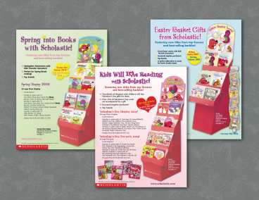 Scholastic Sell Sheets and In-Store Displays