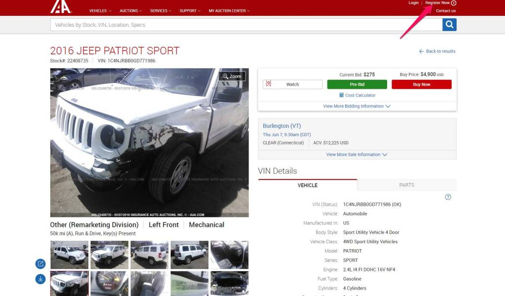 Register on Car auction Site