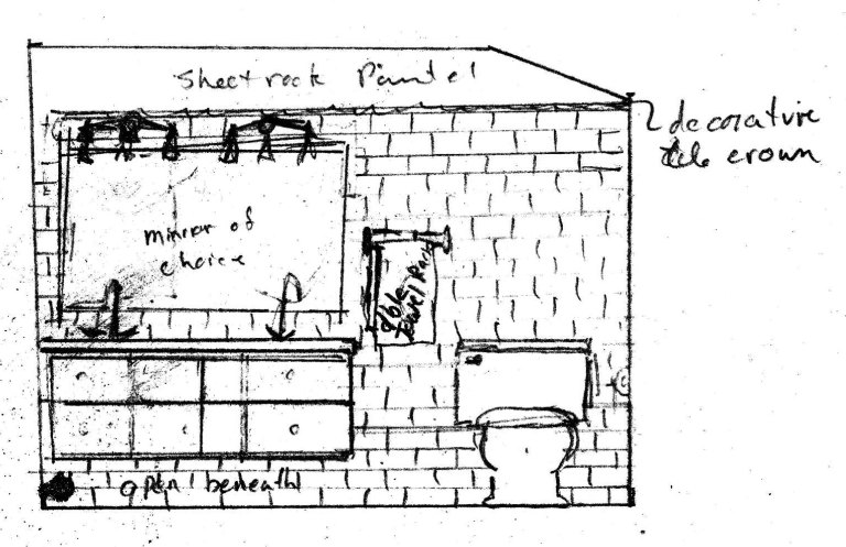 Modern Farmhouse Vanity Area Sketch
