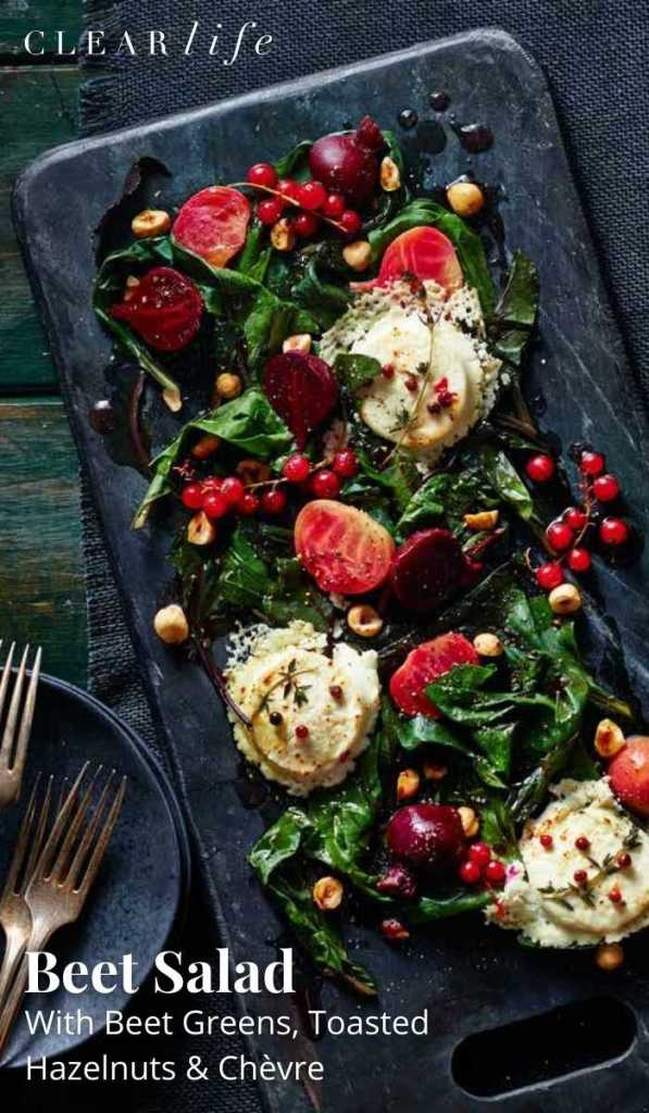 Paired with chevre and hazelnuts, this tasty beet salad is a colourful and delicious addition to any meal.