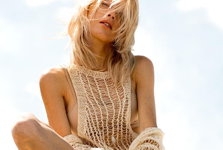 girl in knit top