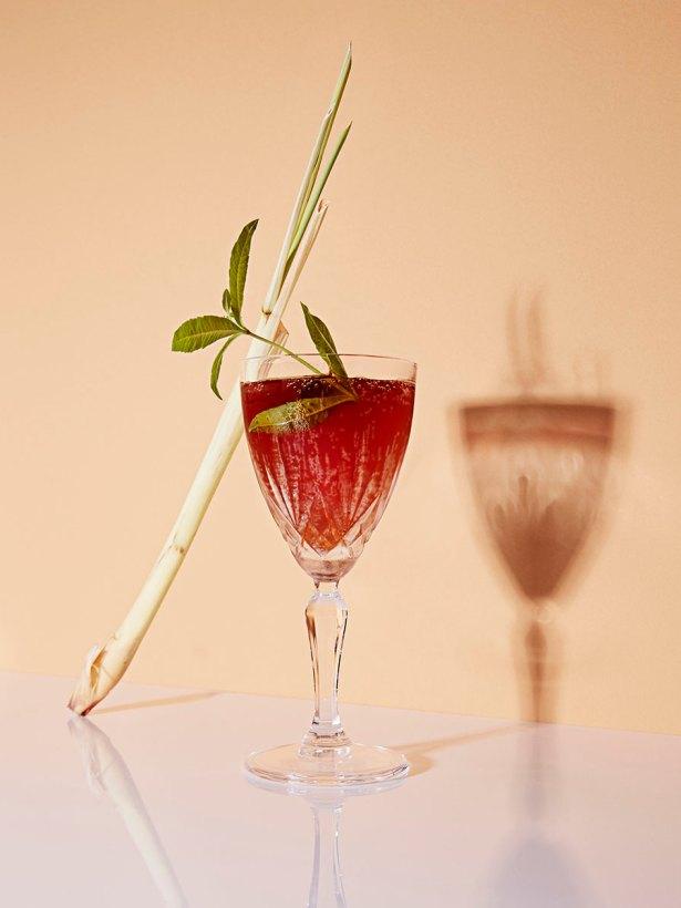 glass with garnishsprigs of lemon verbena