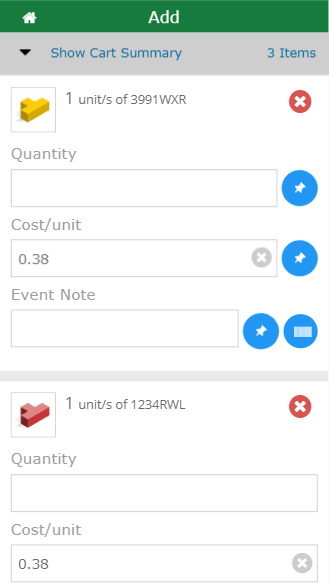 Mobile add to cart summary screen