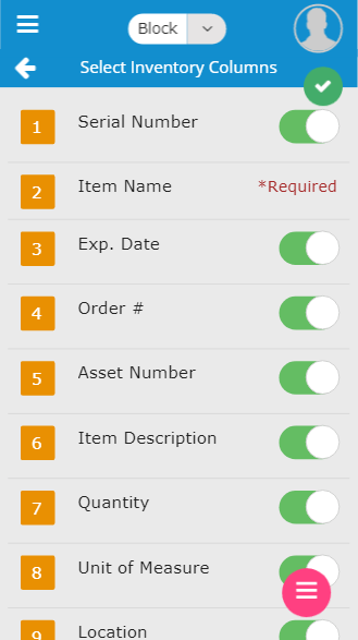 Mobile select inventory columns screen