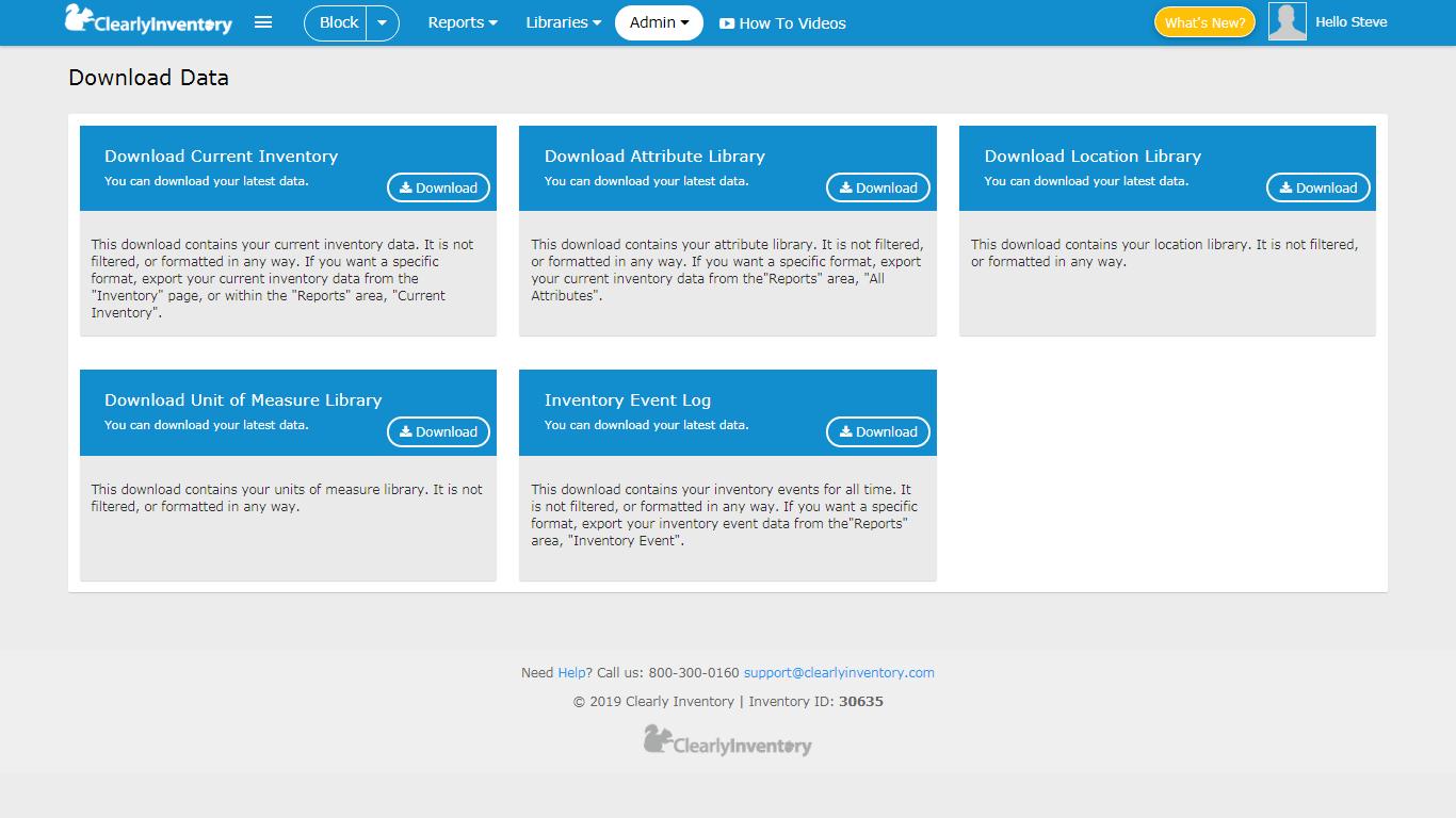 Download data screen