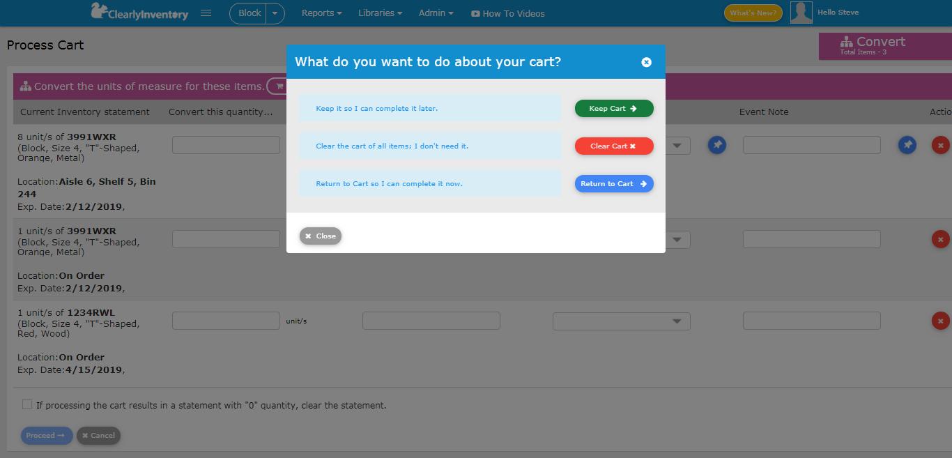 Cart inquiry screen