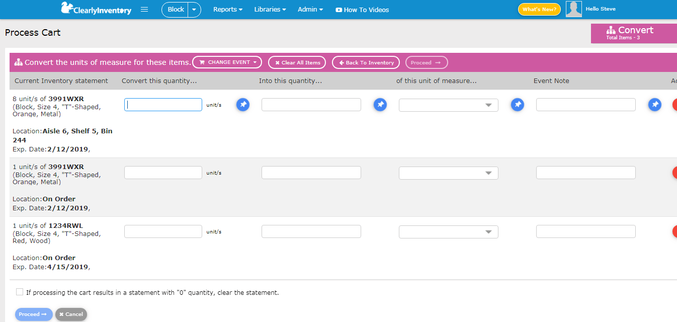 Process cart convert units of measure screen