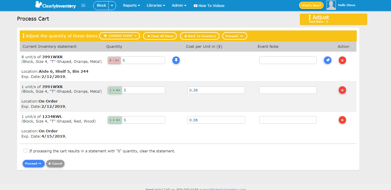 Process cart adjust quantity screen