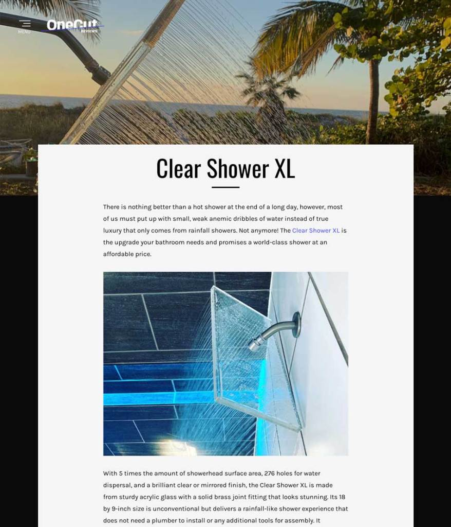 Clear Shower XL Review by OneCut.com