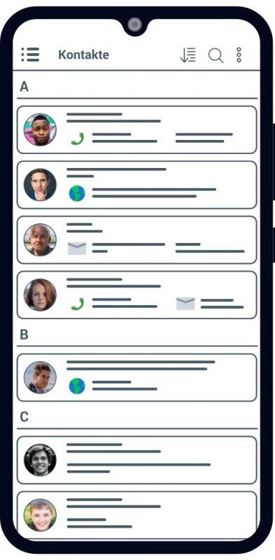 clearTime Kontakte in einer Liste