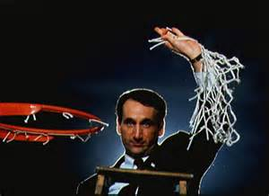 "Coach ""K"" cutting down the net upon winning 1 of his many championships."