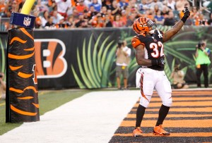 Cincinnati Bengals running back Jeremy Hill (32) celebrates in the end zone in the first half of an NFL preseason football game against the Indianapolis Colts, Thursday, Aug. 28, 2014, in Cincinnati. (AP Photo/Frank Victores)