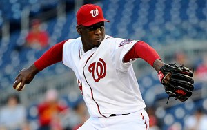 Apr 10, 2014; Washington, DC, USA; Washington Nationals relief pitcher Rafael Soriano (29) throws during the ninth inning against the Miami Marlins at Nationals Park. Mandatory Credit: Brad Mills-USA TODAY Sports